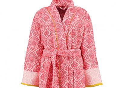 Pip Studio badjas Jacquard Check donker roze